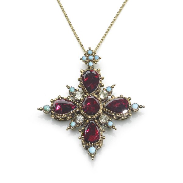 Antique Vicorian Garnet and Turquoise Cruciform Pendant