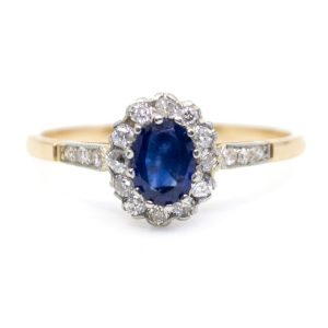 Antique Edwardian Sapphire and Diamond Cluster Ring Vintage engagement ring