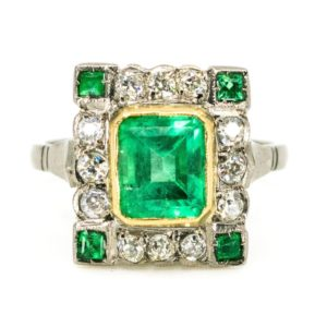 Antique Art Deco Emerald and Diamond Ring