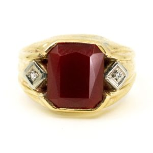 Vintage Carnelian and Diamond Ring