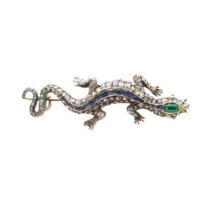 ANTIQUE EMERALD DIAMOND LIZARD BROOCH - CIRCA 1910 Sapphire emeralds and diamonds