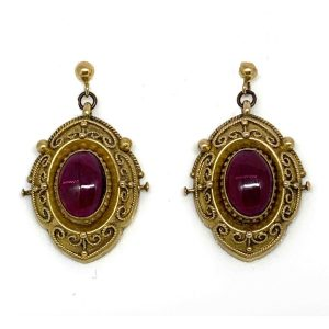 Antique victorian etruscan style garnet gold drop earrings 1880 London