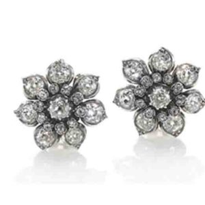 Antique Victorian diamond cluster flower shape earrings clips Circa 1880
