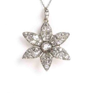Antique 18ct century Georgian diamond flower pendant old cut silver cushion mine