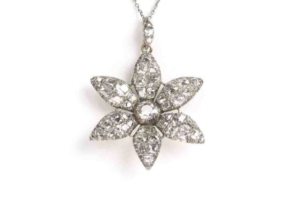 Antique 18ct century Georgian diamond flower pendant old cut silver cushion mine