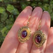 Antique Victorian garnet gold drop earrings