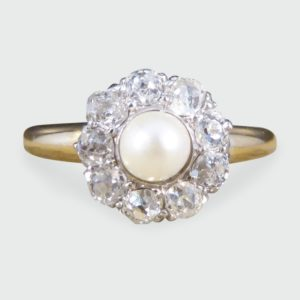 Antique Edwardian Diamond and Pearl Cluster Ring