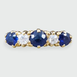 Antique Victorian Sapphire and Diamond Five Stone Ring