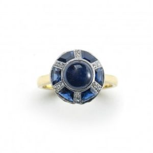 Antique Art Deco Sapphire and Diamond Dome Ring