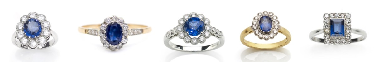sapphire cluster engagement rings modern new antique vintage
