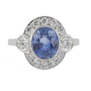 Vintage Ceylon Sapphire and Diamond Cluster Ring