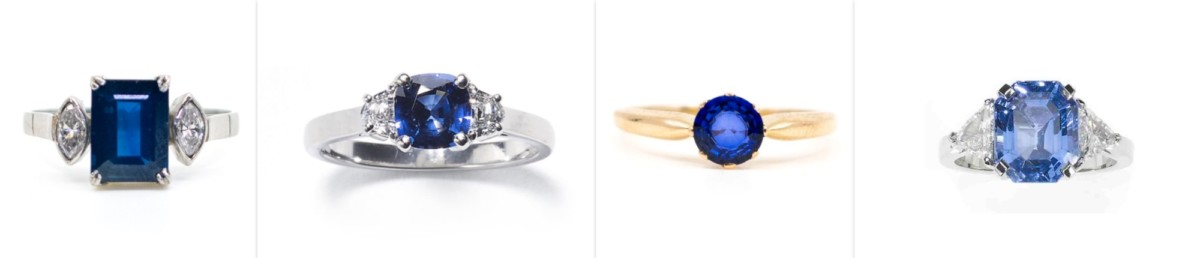 Sapphire single stone diamond shoulders engagement rings