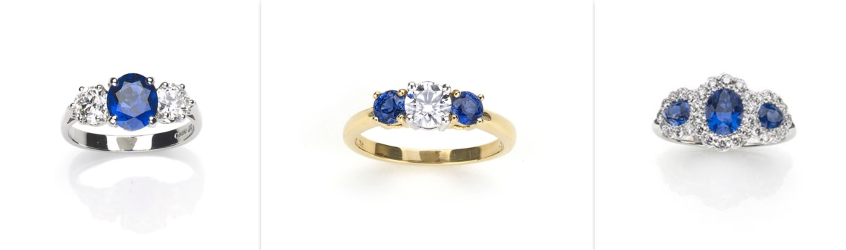 Sapphire three stone engagement rings
