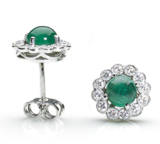 round emerald and diamond cluster earrings studs