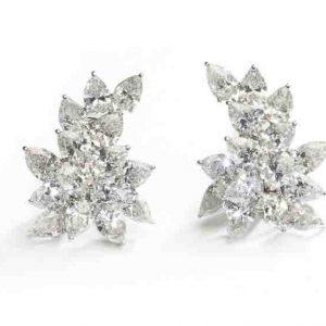 High jewellery Fine jewellery Pear shape diamond cluster earrings GIA certificate