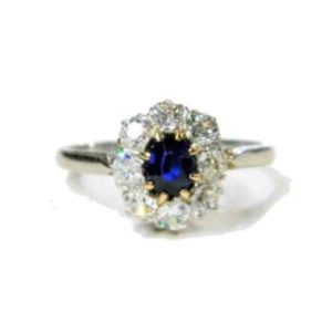 Art Deco Sapphire and Diamond Cluster Engagement Ring Oval sapphire old cuts white