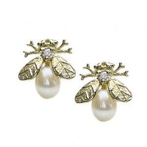 Pearl and Diamond Set Bee Earrings