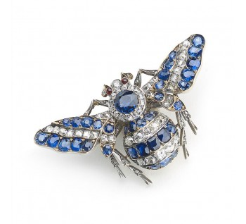 Antique Victorian Sapphire and Diamond Bee Brooch
