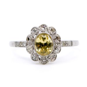 Vintage 1.00ct Yellow Sapphire and Single Cut Diamond Ring