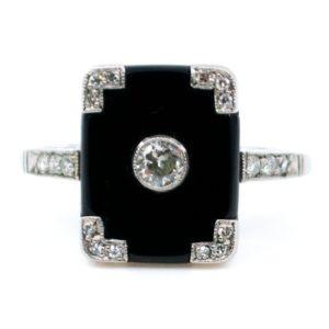 Vintage Onyx and Old European Cut Diamond Platinum Ring
