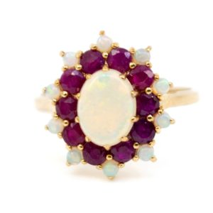 Victorian Style Opal and Ruby Cluster Ring