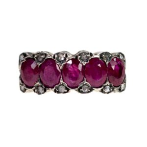 Victorian Style Ruby and Rose Cut Diamond Gold Ring
