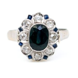 Antique Art Deco 1.50ct Sapphire and Diamond Ring