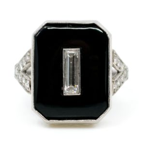 Antique Art Deco Onyx and Baguette Cut Diamond Ring