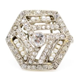 Antique Art Deco Hexagonal Diamond Ring