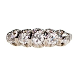 Antique Edwardian Old European Cut Diamond Ring, Platinum