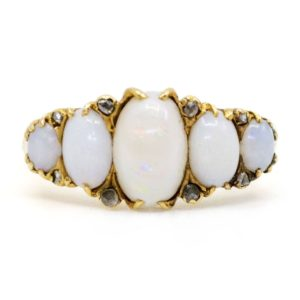 Antique Art Deco Opal and Diamond Five Stone Ring