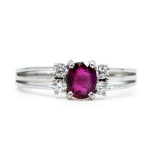 Vintage Ruby and Brilliant Cut Diamond Ring