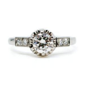 Vintage 0.65ct Brilliant Cut Diamond Ring, Platinum