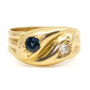 Antique Edwardian Sapphire and Diamond Set Snake Ring