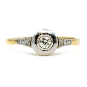 Antique Art Deco Old European Cut Diamond Ring in 18ct Gold