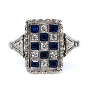 Antique Art Deco Sapphire and Old Mine Cut Diamond Ring