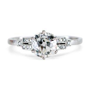Antique Art Deco 1.14ct Cushion Cut Diamond Ring, Platinum