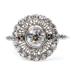 Vintage Old European Cut Diamond Ring, Platinum