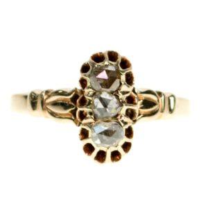Antique Victorian Rose Cut Diamond Gold Ring