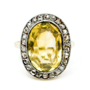 Art Deco 6.5ct Citrine and Diamond Cluster Ring