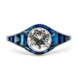 Vintage Sapphire and Old European Cut Diamond Ring, Platinum