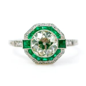 Vintage Emerald and Diamond Target Ring, Platinum