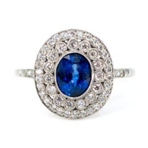 Vintage Sapphire and Diamond Cluster Ring, Platinum