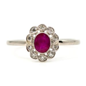 Vintage 0.50ct Ruby and Single Cut Diamond Cluster Ring