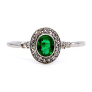 Vintage Emerald and Single Cut Diamond Ring, Platinum
