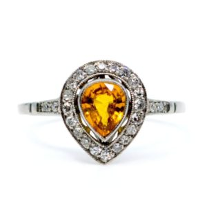 Vintage 0.65ct Yellow Sapphire and Single Cut Diamond Ring, Platinum