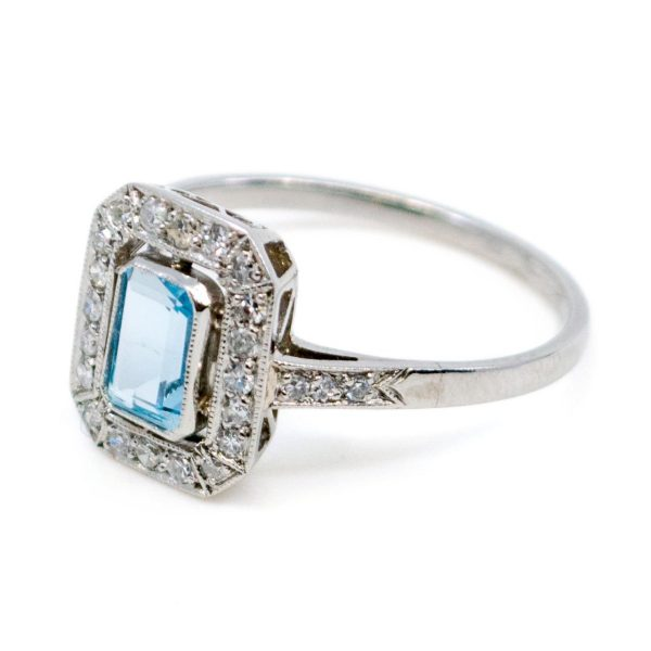 Vintage 0.50ct Aquamarine and Diamond Ring, Platinum
