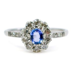 Antique Art Deco Sapphire and Old Mine Cut Diamond Ring, Platinum