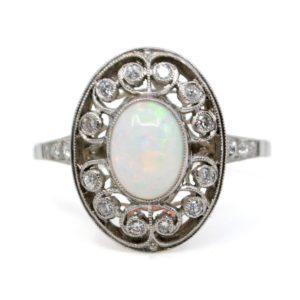 Vintage Opal and Diamond Ring, Platinum