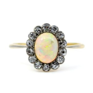 Antique Victorian Opal and Old Mine Cut Diamond Cluster Ring